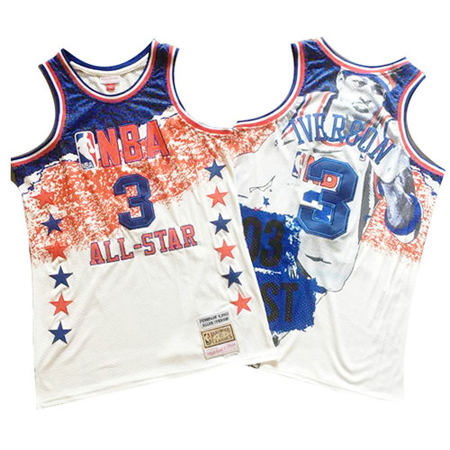 Camiseta nba All Star 2003 Mitchell & Ness Hombre Allen Iverson 3 Blanco