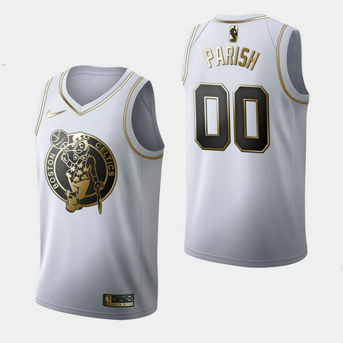 Camiseta nba Boston Celtics Golden Edition Hombre Robert Parish 0 Blanco