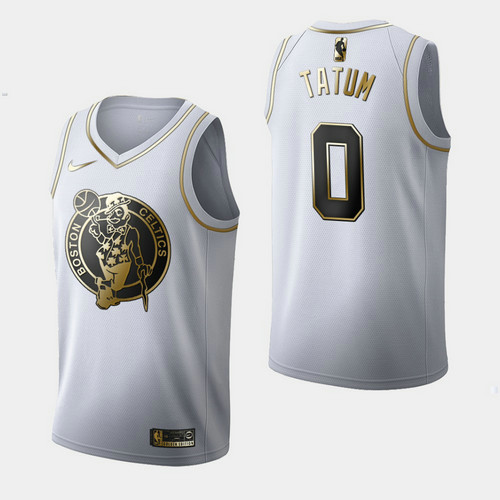 Camiseta nba Boston Celtics Independence Day Golden Edition Hombre Jayson Tatum 0 Blanco
