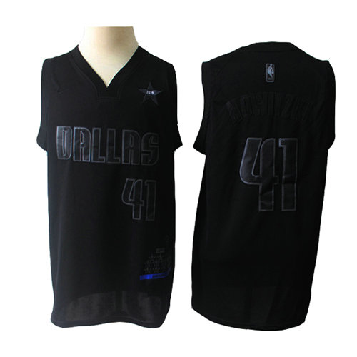 Camiseta nba Dallas Mavericks MVP Hombre Dirk Nowitzki 41 Negro