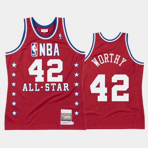 Camiseta nba Los Angeles Lakers All Star 1988 Hombre James Worthy 42 Rojo