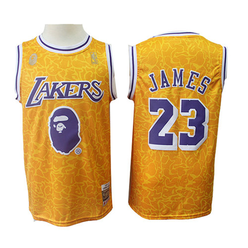 Camiseta nba Los Angeles Lakers Mitchell & Ness Hombre Lebron James 23 Amarillo