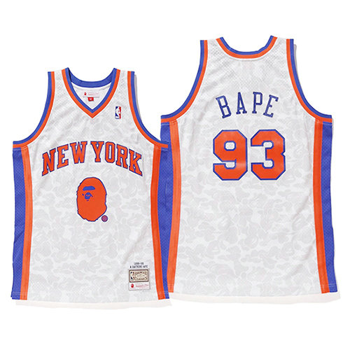 Camiseta nba New York Knicks Mitchell & Ness Hombre Bape 93 Blanco