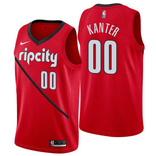 Camiseta nba Portland Trail Blazers earned 2019 Hombre Enes Kanter 0 rojo