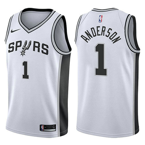 Camiseta nba San Antonio Spurs Association 2017-18 Hombre Kyle Anderson 1 Blanco