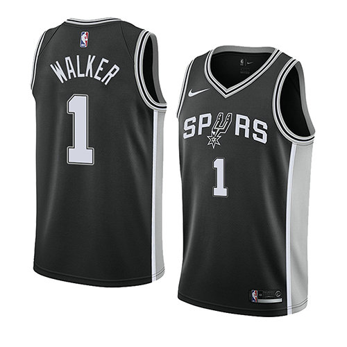 Camiseta nba San Antonio Spurs Icon 2018 Hombre Lonnie Walker 1 Negro