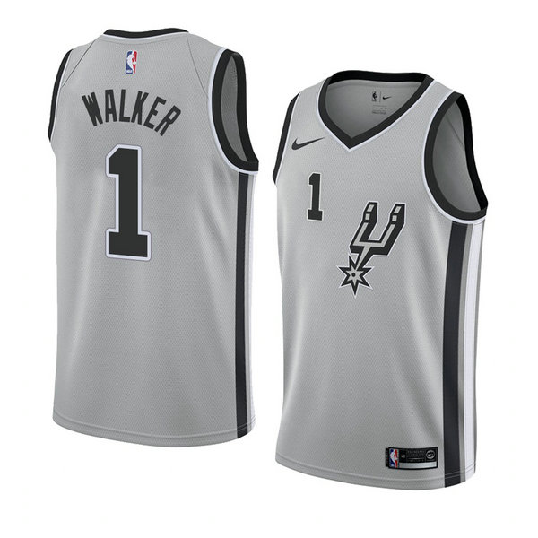 Camiseta nba San Antonio Spurs Statement 2018 Hombre Lonnie Walker 1 Gris