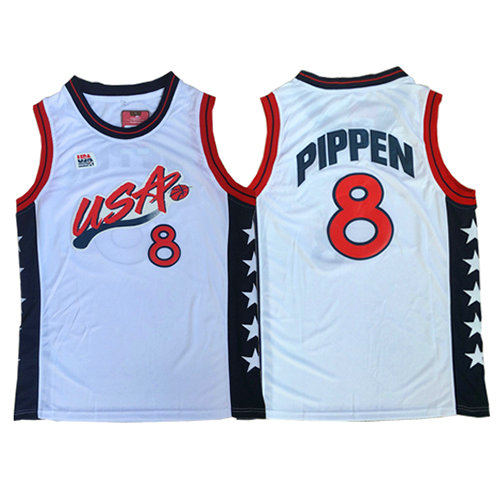 Camiseta nba USA 1996 Hombre Scottie Pippen 8 Blanco