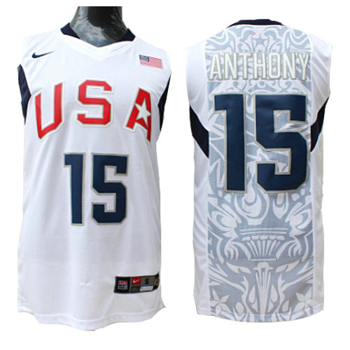 Camiseta nba USA 2008 Hombre Anthony 15 Blanco