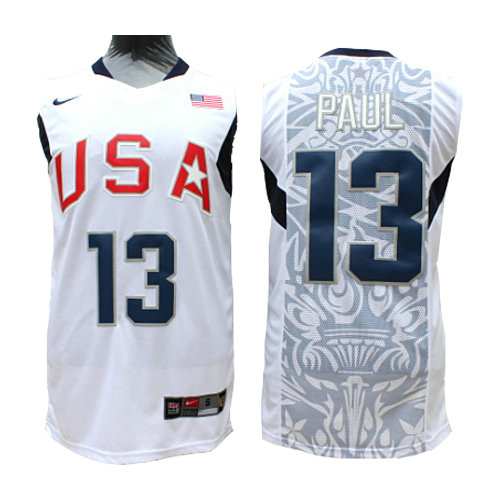 Camiseta nba USA 2008 Hombre Paul 13 Blanco