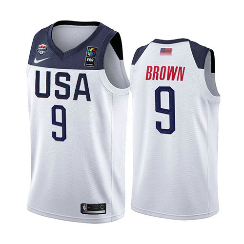 Camiseta nba USA 2019 Hombre Jaylen Brown 9 Blanco