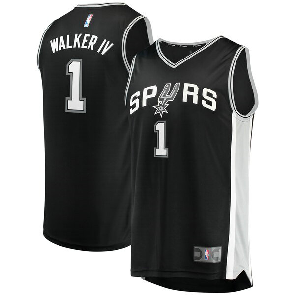 Camiseta nba San Antonio Spurs Icon Edition Hombre Lonnie Walker 1 Negro